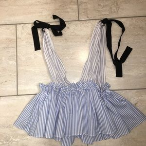 Striped pleated crop top